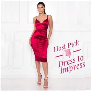 Dresses & Skirts - Red Satin Stretch Formal Bodycon Midi Fitted Dress